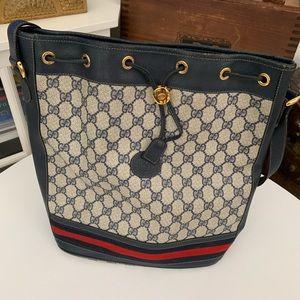 Gucci Vintage Bucket Bag Monogram Navy